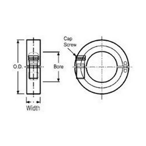 Diagram - Collars - Shaft - Hinged - Stainless Steel