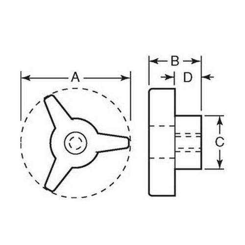 Diagram - Knobs - Tri - Through Hole