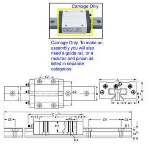 Diagram - Drylin Linear Assembly Parts - Carriage Only