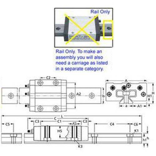 Diagram - Drylin Linear Assembly Parts - Guide Rails Only