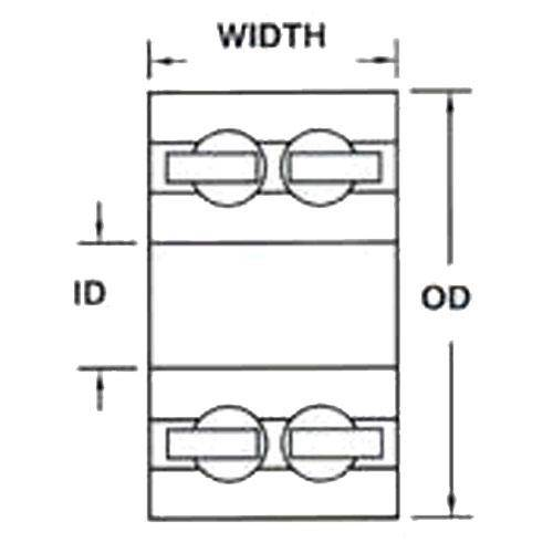 Diagram - Bearings - Ball - 316 Stainless Steel - Double Row - Open