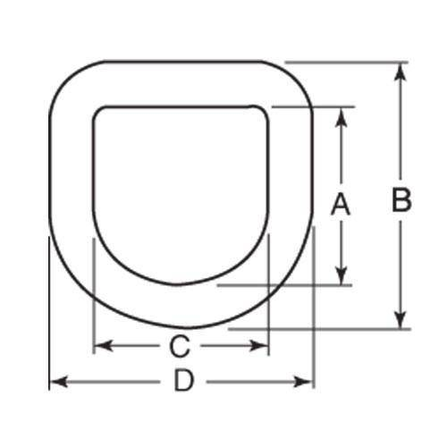 Diagram - Tie Downs - D-Ring - Forged with Bolt-on Bracket
