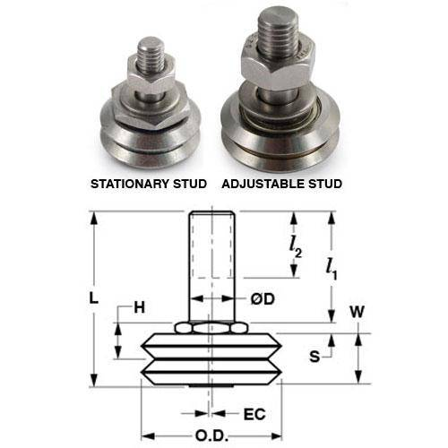 Diagram - Dual Vee - Guide Wheels - Studded