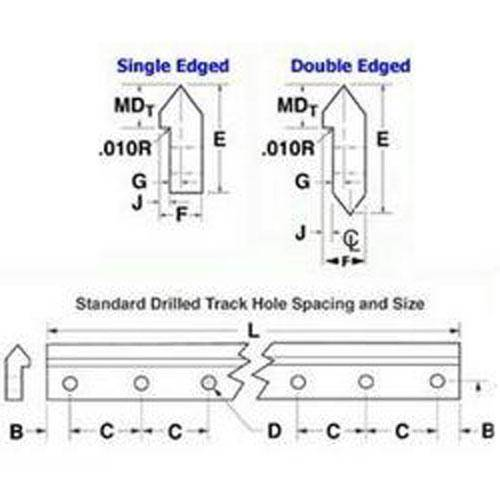 Diagram - Dual Vee - Tracks with Mounting Holes - Stainless Steel