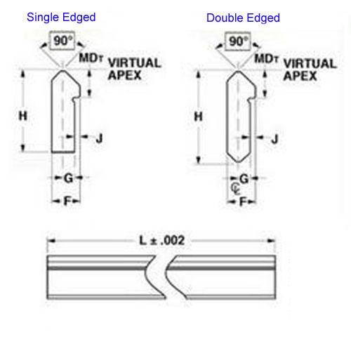 Diagram - Dual Vee - Tracks without Mounting Holes - Stainless Steel