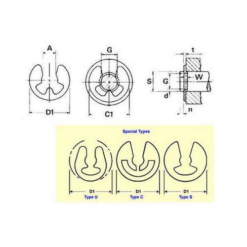 Diagram - E-Clips - Basic - Carbon Steel