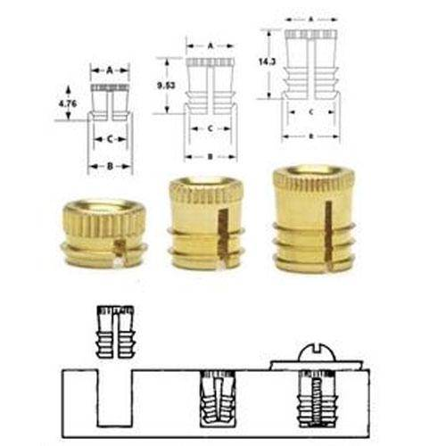 Diagram - Inserts - Tapered Fit - Finserts - For Wood and Plastics