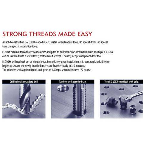 Diagram - Inserts - Thread Repair - EZ-Lok - Solid 303 Stainless Steel