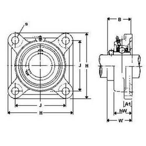 Diagram - Housings - Bearing - Flanged - Square - Cast Iron