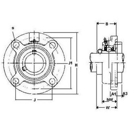 Diagram - Housings - Bearing - Flanged - Round - Cast Iron