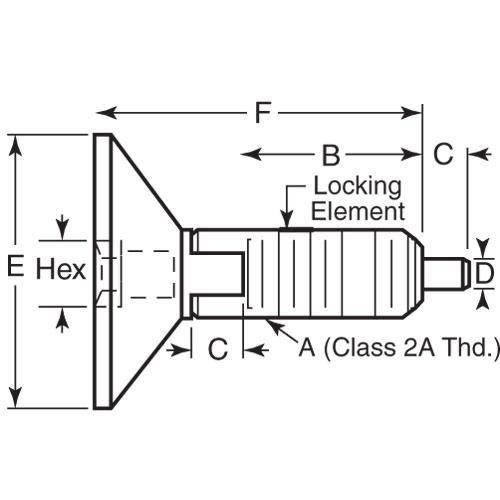 Diagram - Plungers - Spring - Hex Drive Handle - Locking - Steel