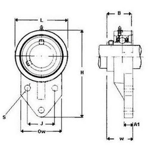 Diagram - Housings - Bearing - Flanged - Offset - Cast Iron