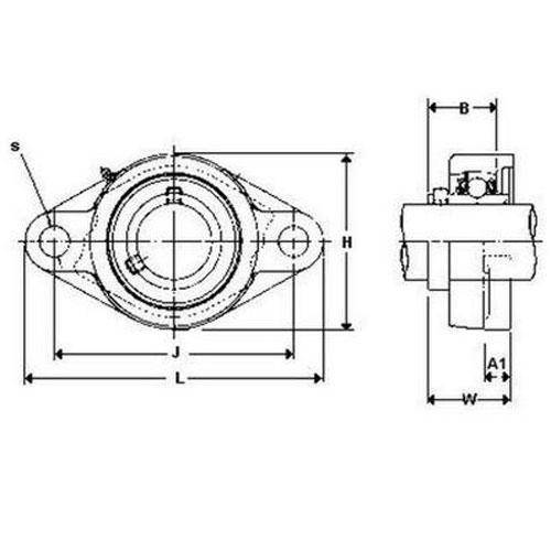Diagram - Housings - Bearing - Flanged - 2 Bolt Hole - Cast Iron