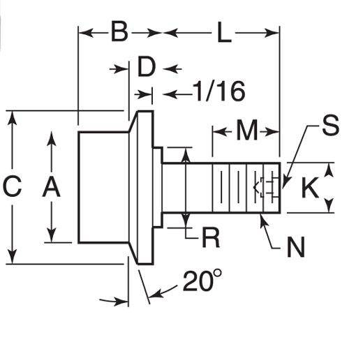 Diagram - Cam Followers - Flanged Stud Type