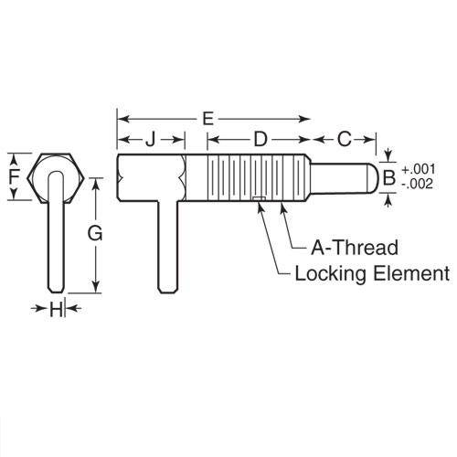 Diagram - Plungers - Spring - L Handle - Locking - Stainless-Acetal