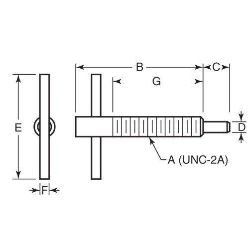 Diagram - Plungers - Spring - Tee Handle - Locking - Stainless
