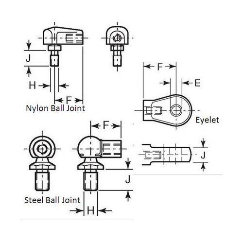 Diagram - Gas Springs - Assembly End Fittings
