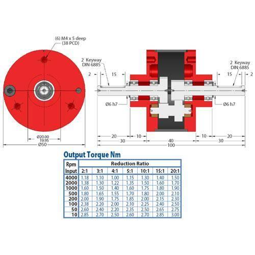 Diagram - Gearboxes - Inline -  50 x  40mm Hi Torque