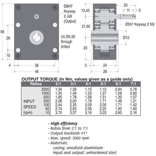 Diagram - Gearboxes - Offset -  58 x  46 x  24