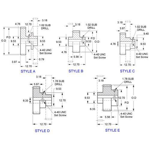 Diagram - Gears - Cluster - 64 Diametrical Pitch - Stainless