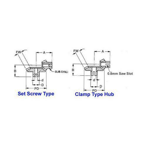 Diagram - Gears - Bevel - 64 Diametrical Pitch - Precision Matched Sets