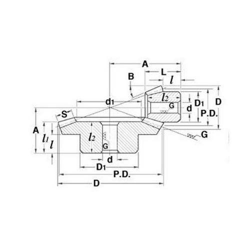 Diagram - Gears - Bevel - Spiral - Module 2 - Steel