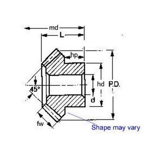 Diagram - Gears - Mitre - Spiral - Module 2.25 - Steel