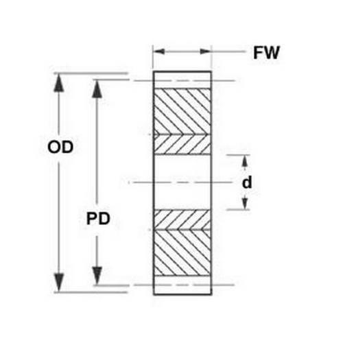 Diagram - Gears - Spur -  72DP - Hub Mounting - Plastic with Aluminium Core