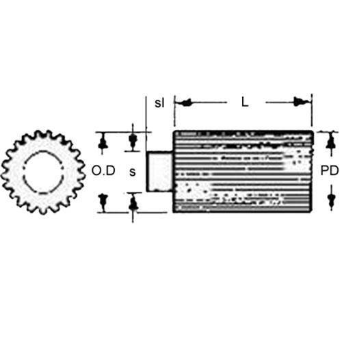 Diagram - Gears - Spur - Stock - Module 0.5 - Steel