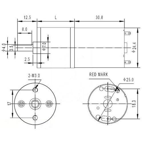 Diagram - Gearmotors - DC - Size  25 Low Cost