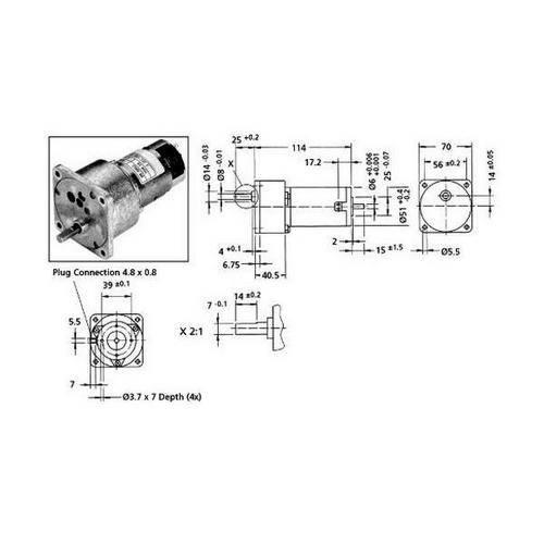 Diagram - Gearmotors - DC PM - Size 70x114