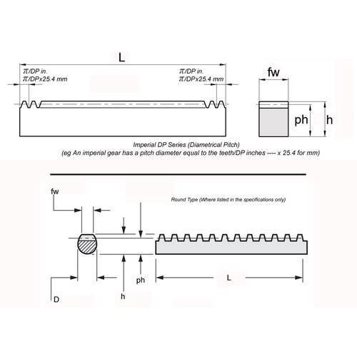 Diagram - Gear Racks -  16DP - Steel