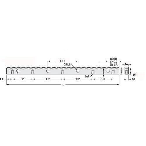 Diagram - Gear Racks -  20DP - Stainless - Tapped Base