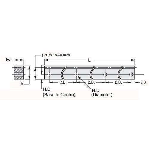 Diagram - Gear Racks -  24DP - Stainless - Side Holes
