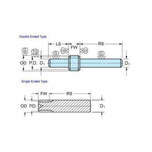 Diagram - Gears - Spur -  72DP - Stem - Stainless