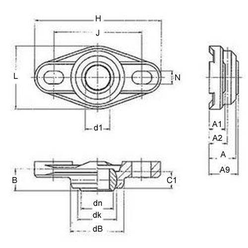 Diagram - Housings - Bearing - Flanged - 2 Bolt Hole - W300