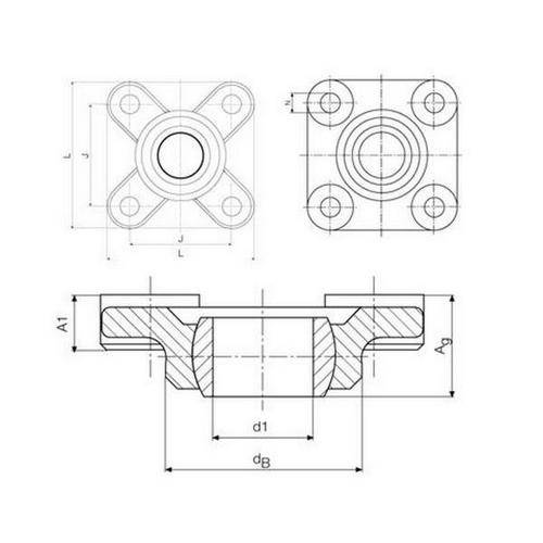 Diagram - Housings - Bearing - Flanged - Square - W300