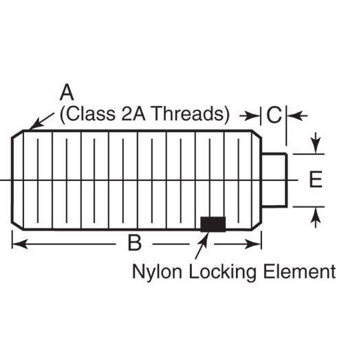 Diagram - Plungers - Spring - Threaded - Steel - Hi-Life Flat Hexagonal Nose