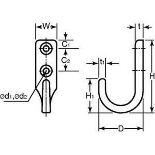Diagram - Hooks - Vertical Mounted - Heavy Duty - 304 Stainless