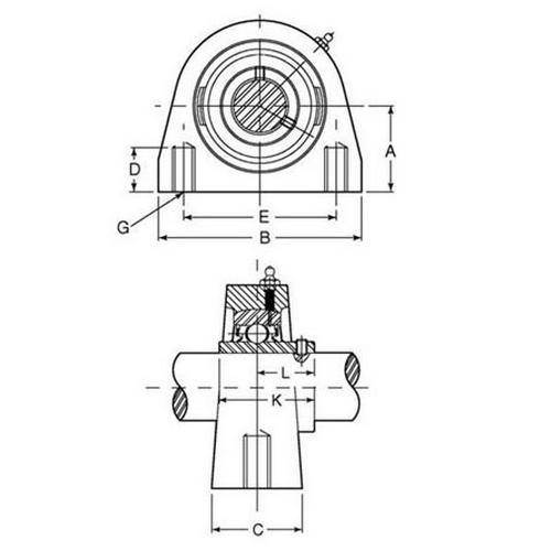 Diagram - Housings - Bearing - Tapped Base Unit - Stainless