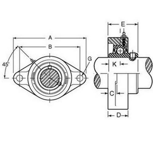 Diagram - Housings - Bearing - 2 Bolt Flange - Thermoplastic with Chrome Steel Bearing