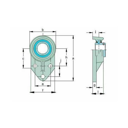 Diagram - Housings - Bearing - Flanged - 3 Bolt Bracket - Plastic