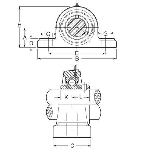 Diagram - Housings - Bearing - Pillow Block - Thermoplastic with Stainless Bearing