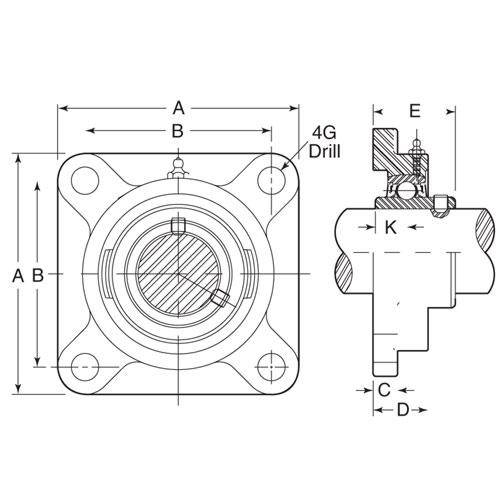 Diagram - Housings - Bearing - 4 Bolt Flange - Thermoplastic with Chrome Steel Bearing