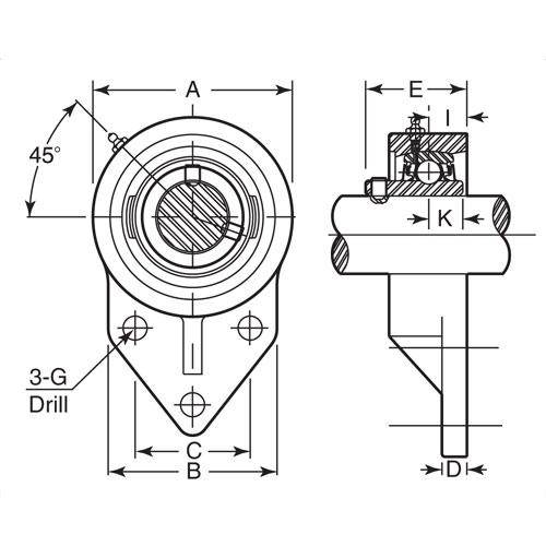 Diagram - Housings - Bearing - 3 Bolt Offset - Thermoplastic with Chrome Steel Bearing