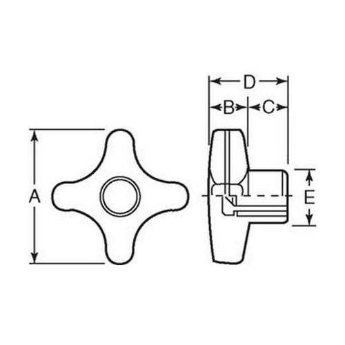 Diagram - Knobs - Cross - Standard - Female