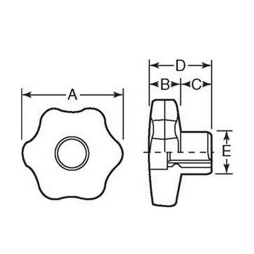 Diagram - Knobs - Six Lobe - Through Hole - Female