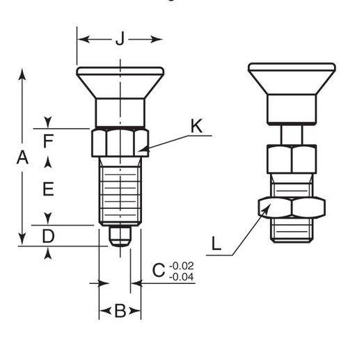 Diagram - Plungers - Indexing - Pull Knob - 303 Stainless - With Nut