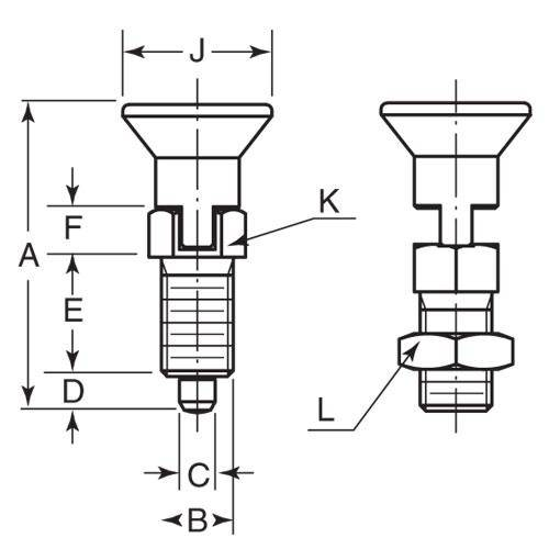 Diagram - Plungers - Indexing - Pull Knob - 303 Stainless - Locking Slot and Nut