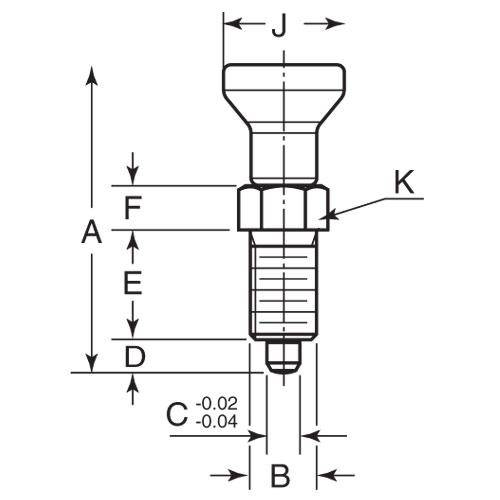 Diagram - Plungers - Indexing - Pull Knob - Full 303 Stainless - With Locking Slot